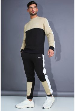Mens Black MAN Skinny Fit Sweater Tracksuit