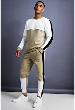 Herr Taupe MAN Skinny Fit Sweater Tracksuit