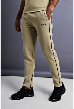 Mens Taupe MAN Skinny Joggers With Ankle Zips