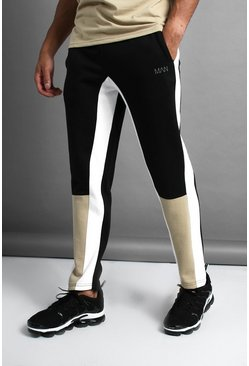 Mens Black MAN Skinny Fit Colour Block Joggers