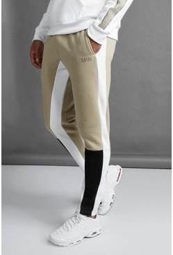Mens Taupe MAN Skinny Fit Colour Block Joggers