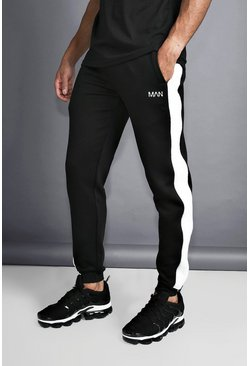 Herr Black MAN Slim Joggers With Reflective Piping