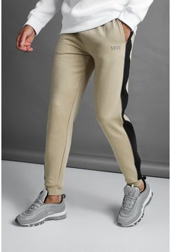 Mens Taupe MAN Slim Joggers With Reflective Piping