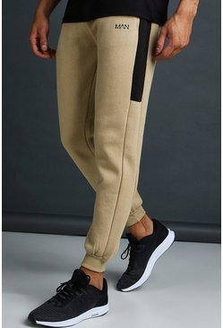 Taupe MAN Skinny Jersey Jogger With Side Panels