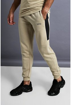 Herr Taupe MAN Skinny Jersey Jogger With Side Panels
