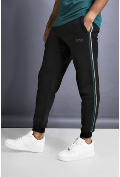 Black MAN Skinny Taped Joggers