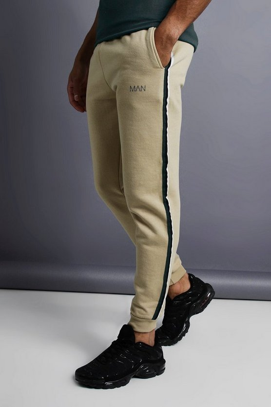 Taupe MAN Skinny Taped Joggers
