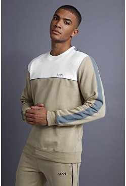 Herr Taupe MAN Sweater With Panelling