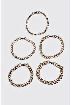 Mens Gold 5 Pack Chain Bracelet