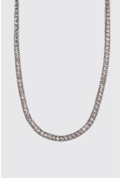 Herr Silver Diamante Tennis Chain