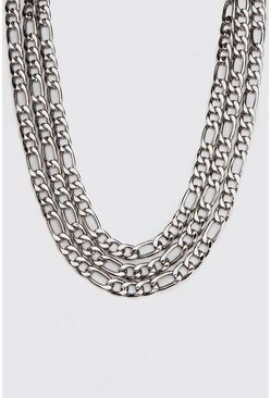 Mens Silver Multi Layer Figaro Chain