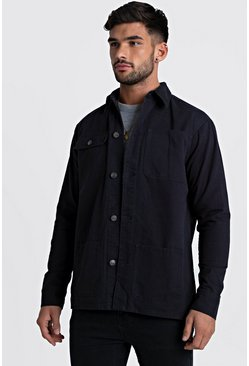Mens Navy Multi Pocket Cotton Twill Shacket