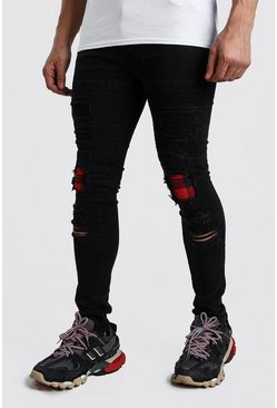 Mens Black Check Rip & Repair Biker Jeans