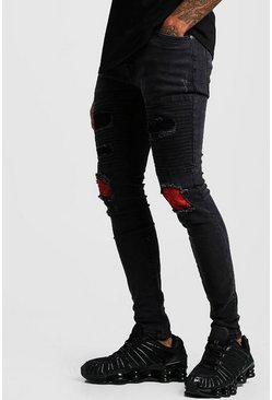 Herr Washed black Biker Check Rip & Repair Jeans