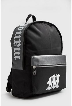 Mens Black Gothic M Pocket Print Rucksack