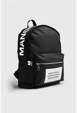 Mens Black MAN Official Top Print Rucksack
