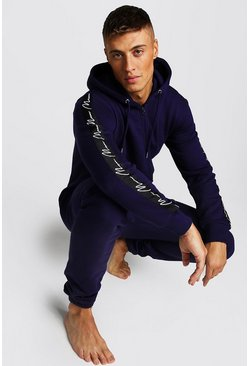 Mens Navy MAN Script Tape Onesie