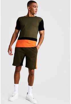 Mens Orange Colour Block Short Lounge Set