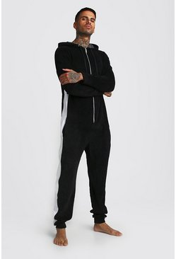 Black Colour Block Velour Onesie