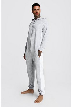 Grey Colour Block Velour Onesie