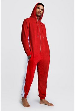 Red Colour Block Velour Onesie