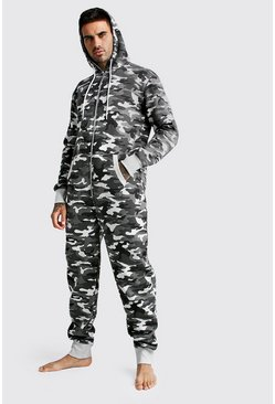 Mens Grey Camo Onesie