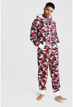 Grenouillère camouflage, Rouge, Homme