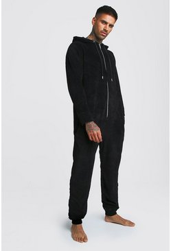 Black Plain Velour Onesies