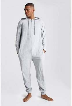 Grey Plain Velour Onesies