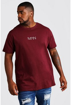 "Big And Tall Longline T-Shirt mit ""MAN""-Print, Weinrot, Herren"