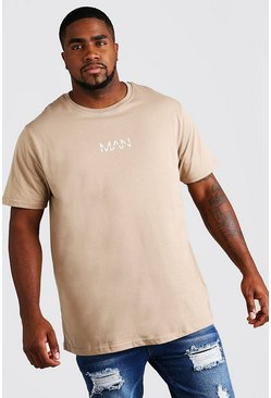 Mens Taupe Big and Tall MAN Dash Longline T-Shirt