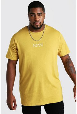 "Big And Tall Longline T-Shirt mit ""MAN""-Print, Senfgelb, Herren"