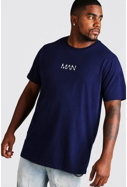"Big & Tall Longline T-Shirt mit ""MAN""-Print, Marineblau, Herren"