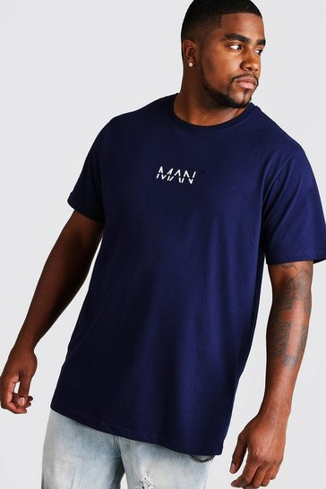 Mens Navy Big and Tall MAN Dash Longline T-Shirt