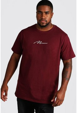 Herr Wine Big and Tall MAN Script Longline T-Shirt