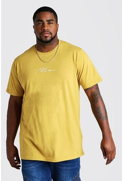 Mens Mustard Big and Tall MAN Script Longline T-Shirt