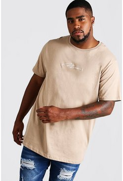 Mens Taupe Big and Tall MAN Script Longline T-Shirt