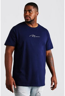 Mens Navy Big and Tall MAN Script Longline T-Shirt