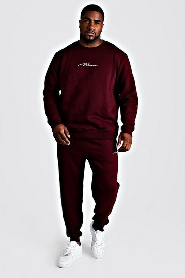Mens Wine Big and Tall MAN Script Sweater Tracksuit