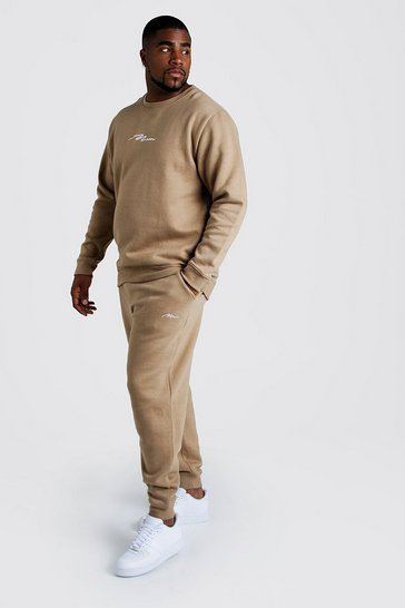 Mens Taupe Big and Tall MAN Script Sweater Tracksuit
