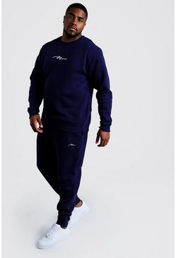 Navy Big & Tall - MAN Script Träningsoverall med sweatshirt