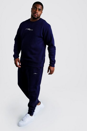 Mens Navy Big and Tall MAN Script Sweater Tracksuit
