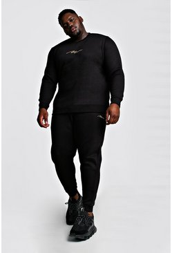 Mens Black Big and Tall MAN Script Sweater Tracksuit