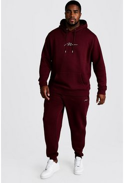 Mens Wine Big and Tall MAN Script Hooded Tracksuit