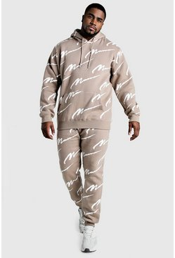 Mens Taupe Big And Tall All Over MAN Hooded Tracksuit