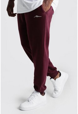 Mens Wine Big and Tall MAN Script Skinny Fit Jogger