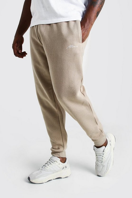 Taupe Big and Tall MAN Script Skinny Fit Jogger