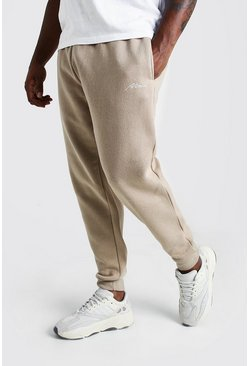 Herr Taupe Big and Tall MAN Script Skinny Fit Jogger