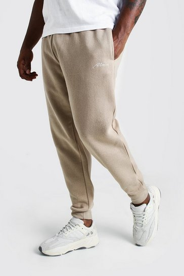 Mens Taupe Big and Tall MAN Script Skinny Fit Jogger