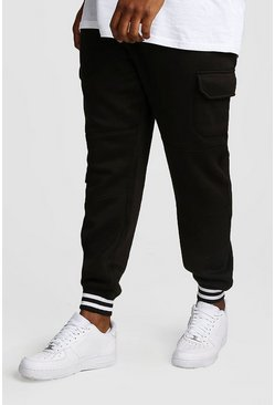 Black Big And Tall Skinny Fit Cargo Joggers